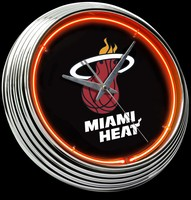 "Miami Heat Neon Clock 15"" – Guaranteed bright and brilliant neon color! Quality neon clocks and neon wall clocks for less. Full 1-5 year no hassle warranty."