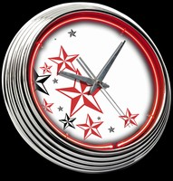 "Nautical Stars Neon Clock 15"" – Guaranteed bright and brilliant neon color! Quality neon clocks and neon wall clocks for less. Full 1-5 year no hassle warranty."
