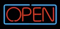 Open Rectangular Small Neon Sign