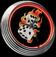"Flaming Dice Neon Clock 15"" – Guaranteed bright and brilliant neon color! Quality neon clocks and neon wall clocks for less. Full 1-5 year no hassle warranty."