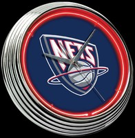 "New Jersey Nets Neon Clock 15"" – Guaranteed bright and brilliant neon color! Quality neon clocks and neon wall clocks for less. Full 1-5 year no hassle warranty."