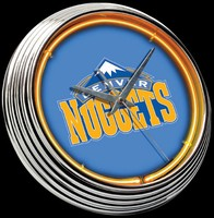 "Denver Nuggets Neon Clock 15"" – Guaranteed bright and brilliant neon color! Quality neon clocks and neon wall clocks for less. Full 1-5 year no hassle warranty."