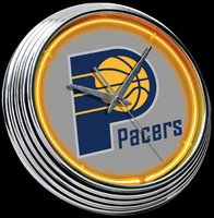 "Indiana Pacers Neon Clock 15"" – Guaranteed bright and brilliant neon color! Quality neon clocks and neon wall clocks for less. Full 1-5 year no hassle warranty."