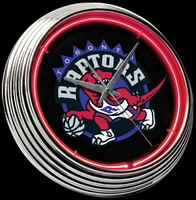 "Toronto Raptors Neon Clock 15"" – Guaranteed bright and brilliant neon color! Quality neon clocks and neon wall clocks for less. Full 1-5 year no hassle warranty."