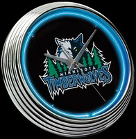 "Timberwolves Neon Clock 15"" – Guaranteed bright and brilliant neon color! Quality neon clocks and neon wall clocks for less. Full 1-5 year no hassle warranty."