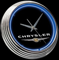 "Chrysler Logo Neon Clock 15"" – Guaranteed bright and brilliant neon color! Quality neon clocks and neon wall clocks for less. Full 1-5 year no hassle warranty."