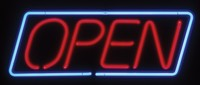 Neon Open Slanted Rectangular Sign – Guaranteed bright and brilliant neon business signs! Our neon business signs feature quality ½ diameter neon glass tubing and whisper quiet UL listed neon business sign transformer. Full 1-5 year no hassle warranty.