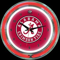 "Alabama 14"" DOUBLE Neon Clock – Guaranteed bright and brilliant neon color! Quality neon clocks and neon wall clocks for less. Full 1-5 year no hassle warranty."