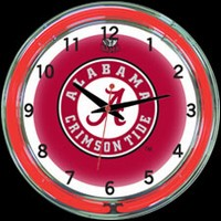 "Alabama 18"" DOUBLE Neon Clock – Guaranteed bright and brilliant neon color! Quality neon clocks and neon wall clocks for less. Full 1-5 year no hassle warranty."