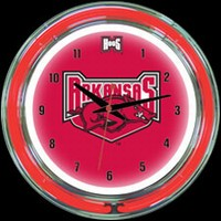 "Arkansas 14"" DOUBLE Neon Clock – Guaranteed bright and brilliant neon color! Quality neon clocks and neon wall clocks for less. Full 1-5 year no hassle warranty."