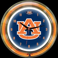 "Auburn Tigers 14"" DOUBLE Neon Clock – Guaranteed bright and brilliant neon color! Quality neon clocks and neon wall clocks for less. Full 1-5 year no hassle warranty."