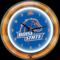 "Boise State 14"" DOUBLE Neon Clock – Guaranteed bright and brilliant neon color! Quality neon clocks and neon wall clocks for less. Full 1-5 year no hassle warranty."