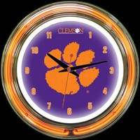 "Clemson 14"" DOUBLE Neon Clock – Guaranteed bright and brilliant neon color! Quality neon clocks and neon wall clocks for less. Full 1-5 year no hassle warranty."