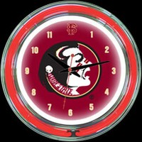 "Florida State 14"" DOUBLE Neon Clock – Guaranteed bright and brilliant neon color! Quality neon clocks and neon wall clocks for less. Full 1-5 year no hassle warranty."