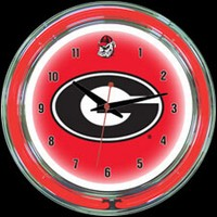 "Georgia 14"" DOUBLE Neon Clock – Guaranteed bright and brilliant neon color! Quality neon clocks and neon wall clocks for less. Full 1-5 year no hassle warranty."
