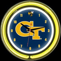 "Georgia Tech 14"" DOUBLE Neon Clock – Guaranteed bright and brilliant neon color! Quality neon clocks and neon wall clocks for less. Full 1-5 year no hassle warranty."