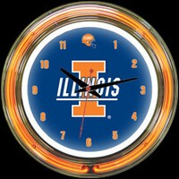 "Illinois 14"" DOUBLE Neon Clock – Guaranteed bright and brilliant neon color! Quality neon clocks and neon wall clocks for less. Full 1-5 year no hassle warranty."