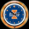 "Illinois DBL 14"" – Guaranteed bright and brilliant neon color! Quality neon clocks and neon wall clocks for less. Full 1-5 year no hassle warranty."