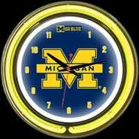 "Michigan 14"" DOUBLE Neon Clock – Guaranteed bright and brilliant neon color! Quality neon clocks and neon wall clocks for less. Full 1-5 year no hassle warranty."