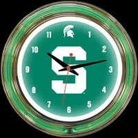 "Michigan St 14"" DOUBLE Neon Clock – Guaranteed bright and brilliant neon color! Quality neon clocks and neon wall clocks for less. Full 1-5 year no hassle warranty."