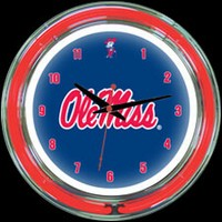 "Ole Miss 14"" DOUBLE Neon Clock – Guaranteed bright and brilliant neon color! Quality neon clocks and neon wall clocks for less. Full 1-5 year no hassle warranty."