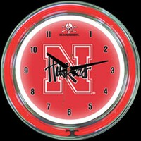 "Nebraska 14"" DOUBLE Neon Clock – Guaranteed bright and brilliant neon color! Quality neon clocks and neon wall clocks for less. Full 1-5 year no hassle warranty."