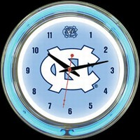 "N Carolina 14"" DOUBLE Neon Clock – Guaranteed bright and brilliant neon color! Quality neon clocks and neon wall clocks for less. Full 1-5 year no hassle warranty."