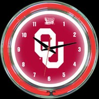 "Oklahoma 14"" DOUBLE Neon Clock – Guaranteed bright and brilliant neon color! Quality neon clocks and neon wall clocks for less. Full 1-5 year no hassle warranty."