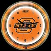 "Oklahoma State DBL 14"" – Guaranteed bright and brilliant neon color! Quality neon clocks and neon wall clocks for less. Full 1-5 year no hassle warranty."