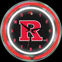 "Rutgers 14"" DOUBLE Neon Clock – Guaranteed bright and brilliant neon color! Quality neon clocks and neon wall clocks for less. Full 1-5 year no hassle warranty."