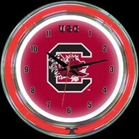 "S Carolina 14"" DOUBLE Neon Clock – Guaranteed bright and brilliant neon color! Quality neon clocks and neon wall clocks for less. Full 1-5 year no hassle warranty."