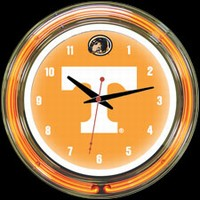 "Tennessee 14"" DOUBLE Neon Clock – Guaranteed bright and brilliant neon color! Quality neon clocks and neon wall clocks for less. Full 1-5 year no hassle warranty."