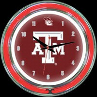 "Texas A&M 14"" DOUBLE Neon Clock – Guaranteed bright and brilliant neon color! Quality neon clocks and neon wall clocks for less. Full 1-5 year no hassle warranty."