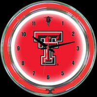 "Texas Tech 14"" DOUBLE Neon Clock – Guaranteed bright and brilliant neon color! Quality neon clocks and neon wall clocks for less. Full 1-5 year no hassle warranty."