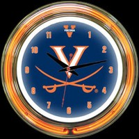 "Virginia 14"" DOUBLE Neon Clock – Guaranteed bright and brilliant neon color! Quality neon clocks and neon wall clocks for less. Full 1-5 year no hassle warranty."