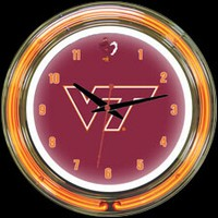 "Virginia Tech 14"" DOUBLE Neon Clock – Guaranteed bright and brilliant neon color! Quality neon clocks and neon wall clocks for less. Full 1-5 year no hassle warranty."