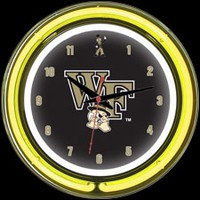 "Wake Forest 14"" DOUBLE Neon Clock – Guaranteed bright and brilliant neon color! Quality neon clocks and neon wall clocks for less. Full 1-5 year no hassle warranty."