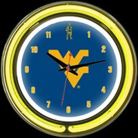 "West Virginia 14"" DOUBLE Neon Clock – Guaranteed bright and brilliant neon color! Quality neon clocks and neon wall clocks for less. Full 1-5 year no hassle warranty."