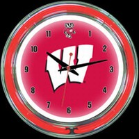 "Wisconsin 14"" DOUBLE Neon Clock – Guaranteed bright and brilliant neon color! Quality neon clocks and neon wall clocks for less. Full 1-5 year no hassle warranty."