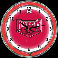 "Arkansas 18"" DOUBLE Neon Clock – Guaranteed bright and brilliant neon color! Quality neon clocks and neon wall clocks for less. Full 1-5 year no hassle warranty."