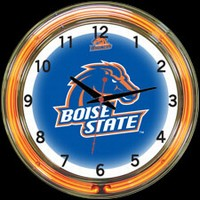 "Boise State 18"" DOUBLE Neon Clock – Guaranteed bright and brilliant neon color! Quality neon clocks and neon wall clocks for less. Full 1-5 year no hassle warranty."