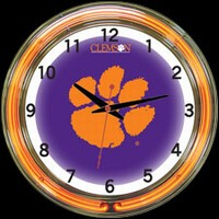 "Clemson 18"" DOUBLE Neon Clock – Guaranteed bright and brilliant neon color! Quality neon clocks and neon wall clocks for less. Full 1-5 year no hassle warranty."