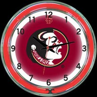 "Florida State 18"" DOUBLE Neon Clock – Guaranteed bright and brilliant neon color! Quality neon clocks and neon wall clocks for less. Full 1-5 year no hassle warranty."