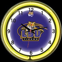 "LSU Tigers 18"" DOUBLE Neon Clock – Guaranteed bright and brilliant neon color! Quality neon clocks and neon wall clocks for less. Full 1-5 year no hassle warranty."