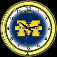 "Michigan 18"" DOUBLE Neon Clock – Guaranteed bright and brilliant neon color! Quality neon clocks and neon wall clocks for less. Full 1-5 year no hassle warranty."