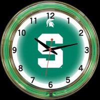 "Michigan St 18"" DOUBLE Neon Clock – Guaranteed bright and brilliant neon color! Quality neon clocks and neon wall clocks for less. Full 1-5 year no hassle warranty."