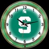 "Michigan State DBL 18"" – Guaranteed bright and brilliant neon color! Quality neon clocks and neon wall clocks for less. Full 1-5 year no hassle warranty."
