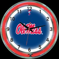 "Ole Miss 18"" DOUBLE Neon Clock – Guaranteed bright and brilliant neon color! Quality neon clocks and neon wall clocks for less. Full 1-5 year no hassle warranty."
