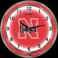 "Nebraska 18"" DOUBLE Neon Clock – Guaranteed bright and brilliant neon color! Quality neon clocks and neon wall clocks for less. Full 1-5 year no hassle warranty."
