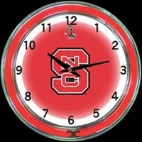 "NC State 18"" DOUBLE Neon Clock – Guaranteed bright and brilliant neon color! Quality neon clocks and neon wall clocks for less. Full 1-5 year no hassle warranty."